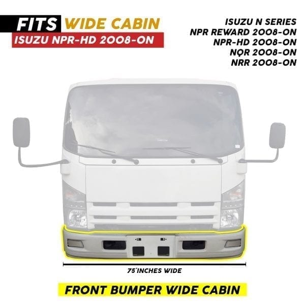 ISUZU NPR BUMPER JAPANESE VERSION W/O FOG LAMP HOLE WHITE (2008-ON)