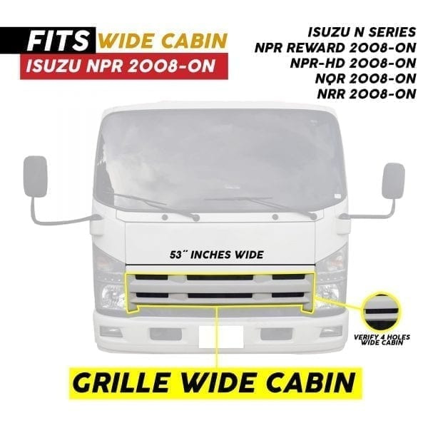 2008-2020 ISUZU NPR/NPR-HD GRILLE WIDE WHITE